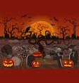 spooky graveyard flat background vector image