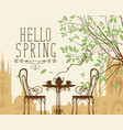 spring urban scape with furniture of street cafe vector image vector image