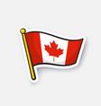 sticker flag canada on flagstaff vector image