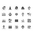 trees flat glyph icons set plants landscape vector image vector image