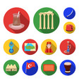 turkey country flat icons in set collection for vector image vector image