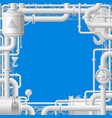 white gas pipes on blue background vector image