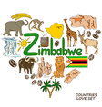 Zimbabwe symbols in heart shape concept vector image vector image