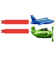Airplane and red advertising ribbon vector image