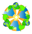 recycled eco icon recycle arrows ecology symbol vector image