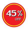 45 off discount price tag isolated vector image vector image