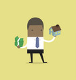 african businessman holding house and money vector image vector image