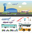 airport structure and special vehicles set on vector image vector image