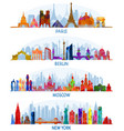 architecture paris berlin moscow and new york vector image vector image