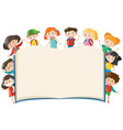 background template with kids around book vector image vector image
