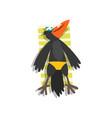 black raven sunbathing on the beach cute bird vector image