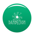 blooming dandelion logo icon green vector image