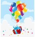 bunch of colorful balloons and a gift vector image vector image