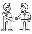 businessmen handshakepartnership line icon vector image vector image