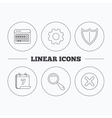 Calendar magnifying glass and delete icons vector image