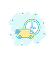 cartoon colored delivery truck 24h icon in comic vector image