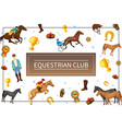 cartoon equestrian club concept vector image