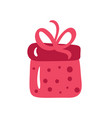 christmas red gift box with ribbon and bow vector image vector image