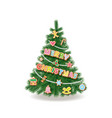 christmas tree decorated with garlands vector image