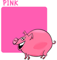 Color Pink and Pig Cartoon vector image vector image