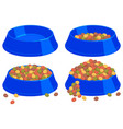 colorful cartoon pet food bowl set vector image vector image