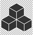 cube icon on transparent background flat style vector image vector image