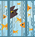curious kitty watching aquarium fish swimming vector image