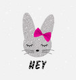 cute rabbit in sequins bunny cute print vector image vector image