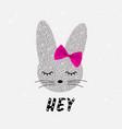 cute rabbit in sequins bunny cute print vector image