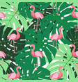 Cute retro seamless flamingo pattern background