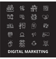 digital marketing editable line icons set vector image vector image
