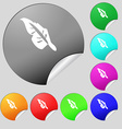 Feather icon sign Set of eight multi colored round vector image vector image