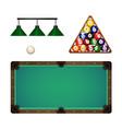 flat cartoon billiard objects set vector image vector image