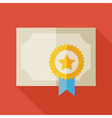 Flat Diploma Award Paper with long Shadow vector image vector image