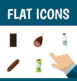 flat icon eating set of smoked sausage bottle vector image vector image