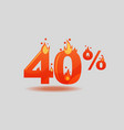 forty percent discount numbers on fire vector image vector image