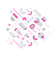 geometric pink and lineart shapes trendy graphic vector image vector image