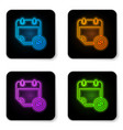 glowing neon financial calendar icon isolated on vector image