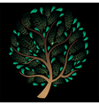 Green Tree isolated on Black Background vector image