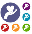 hand holding heart icons set vector image vector image