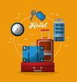 hotel building suitcases clock key service vector image vector image