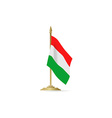 Hungarian flag stant on white space vector image vector image