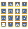 japan icons set blue vector image vector image