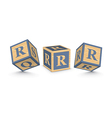 letter R wooden alphabet blocks vector image vector image