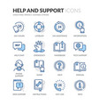 line help and support icons vector image vector image