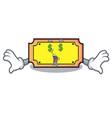 money eye ticket mascot cartoon style vector image vector image