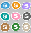 number five icon sign Multicolored paper stickers vector image vector image