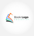 open book logo education flat design vector image