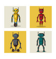 robot square icons cartoon vector image