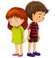 sad boy and girl crying vector image vector image